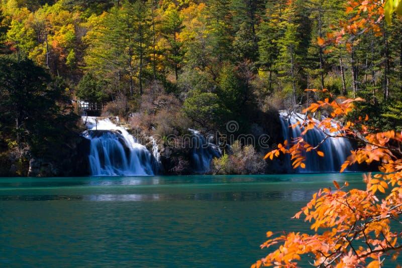 Cachoeira e lago calmo imagem de stock