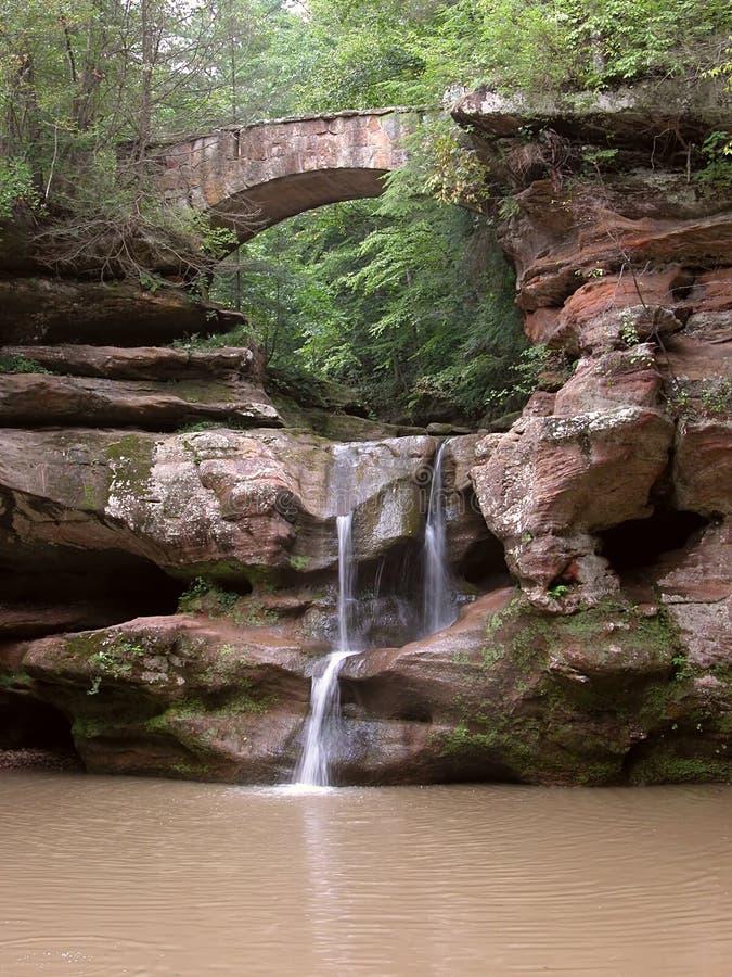 Cachoeira e ponte imagem de stock royalty free
