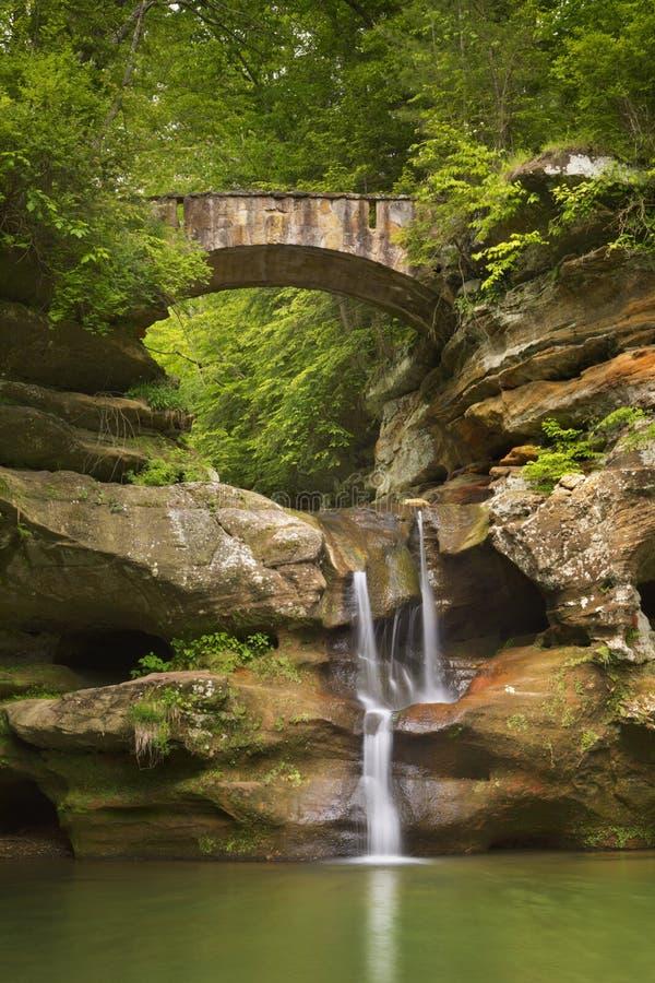 Cachoeira e ponte em montes parque estadual de Hocking, Ohio, EUA imagem de stock