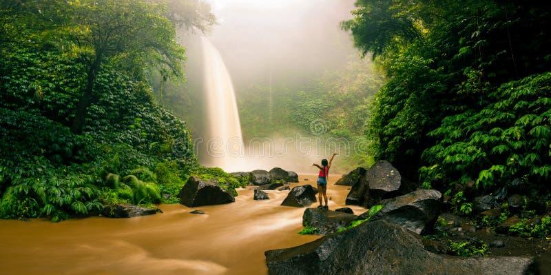 Cachoeira escondida na selva tropical foto de stock royalty free