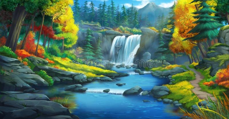 A cachoeira Forest Fiction Backdrop ilustração do vetor