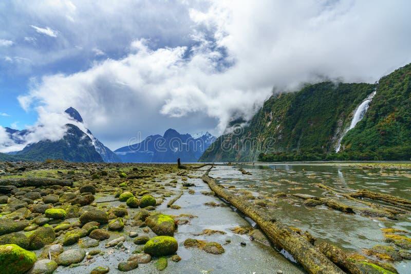 Cachoeira grande em Milford Sound, fiordland, Nova Zelândia 2 imagem de stock royalty free