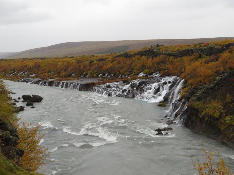Cachoeira Hraunfossar imagens de stock