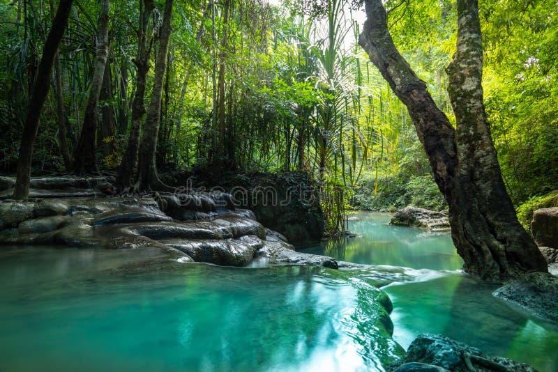 Cachoeira minúscula a quinto nível de cachoeira de Erawan imagens de stock royalty free