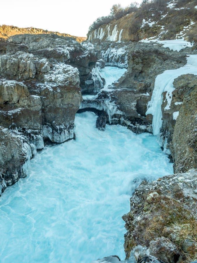 Cachoeira na estação do inverno, Islândia de Barnafoss fotografia de stock royalty free