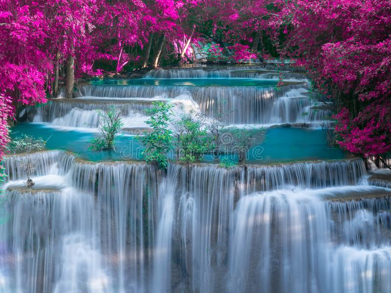 Cachoeira na selva profunda com licença roxa - Huay Mae Kamin Waterfall da floresta tropical na província de Kanchanaburi, Tailân foto de stock