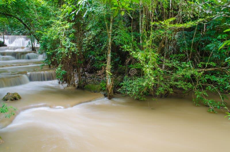 Cachoeira na selva profunda da floresta tropical, Huay Mae Kamin Waterfall foto de stock