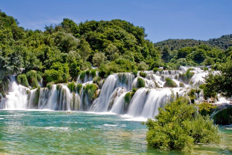 Cachoeira no parque nacional Croatia de Krka foto de stock
