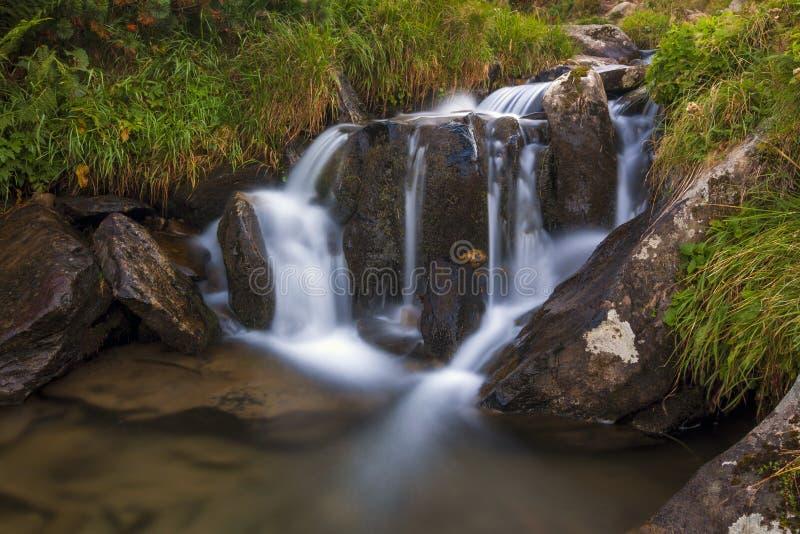 Cachoeira pequena bonita nas montanhas com água espumosa branca imagens de stock