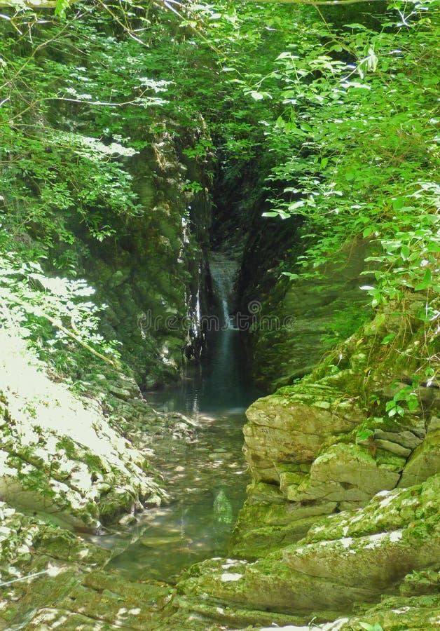 Cachoeira pequena distante na garganta escura imagem de stock
