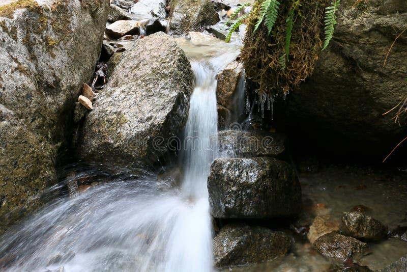 Cachoeira pequena em mais baixo Reid Falls em Skagway, Alaska foto de stock