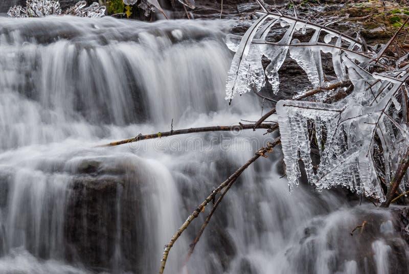 Cachoeira pequena no inverno imagens de stock