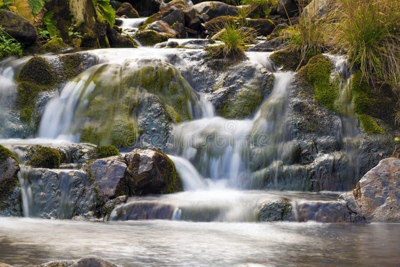 Cachoeira pequena no parque com água lisa bonita Pouco wat fotografia de stock royalty free