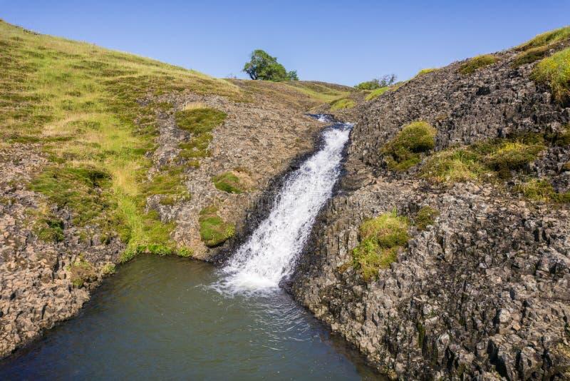 Cachoeira pequena que deixa cair em uma associação, reserva ecológica da montanha norte da tabela, Oroville, Califórnia imagem de stock