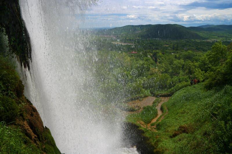 Cachoeira perto de Edessa, em Grécia imagem de stock