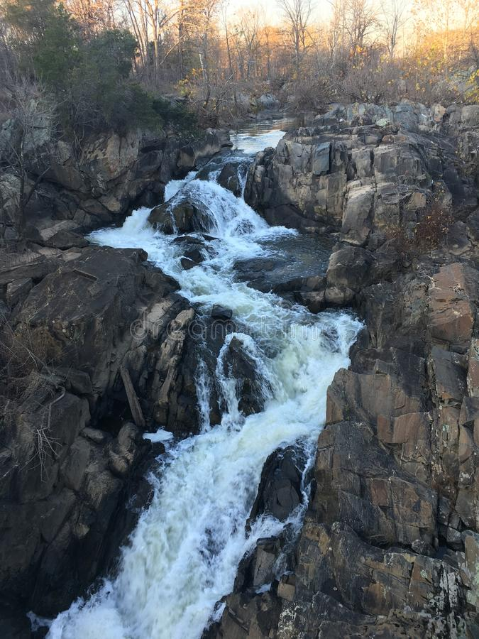 Cachoeira poderosa no canal próximo de C&O fotos de stock royalty free