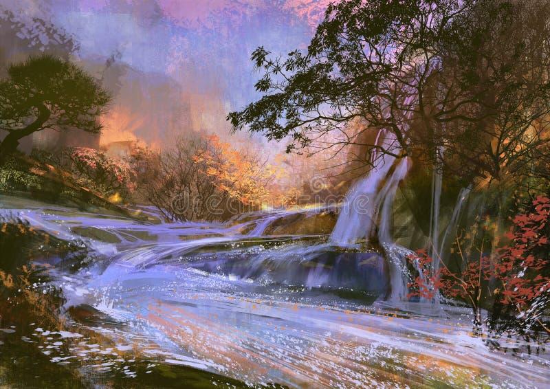 Cachoeira roxa bonita ilustração stock