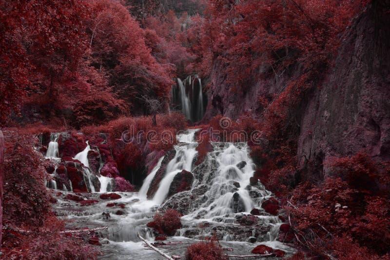 Cachoeira vermelha imagens de stock