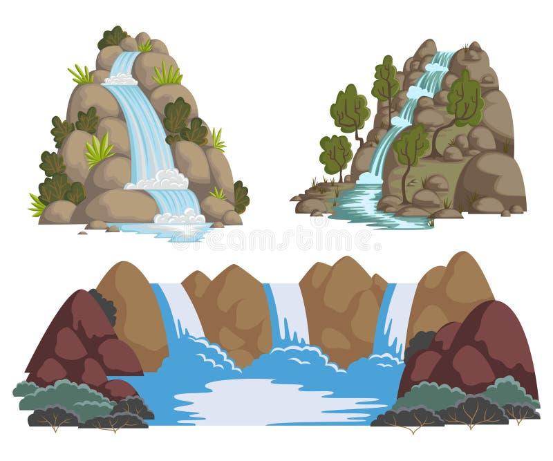 Cachoeiras ajustadas Paisagens dos desenhos animados com montanhas e árvores ilustração royalty free