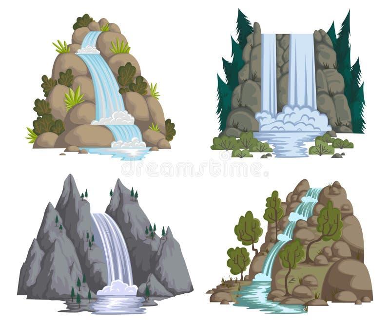 Cachoeiras ajustadas Paisagens dos desenhos animados com montanhas e árvores ilustração stock