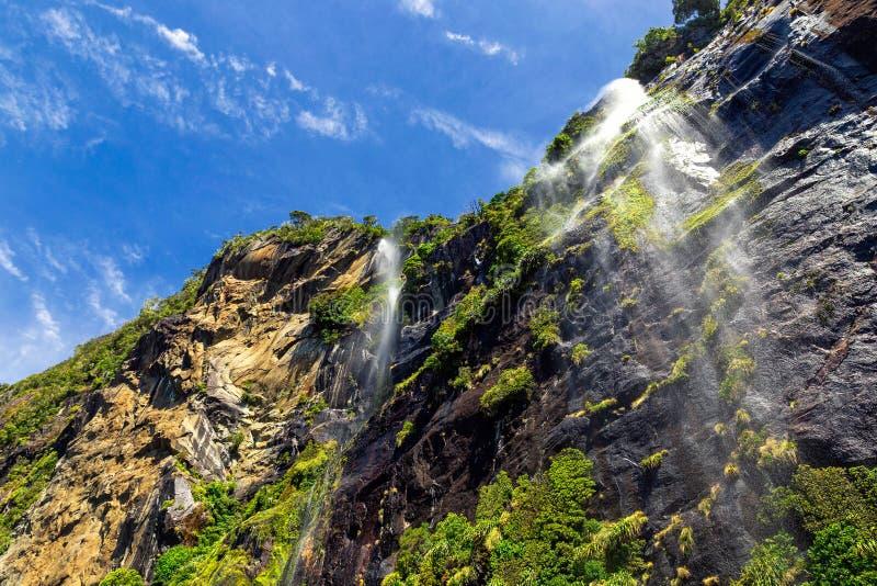 Cachoeiras altas em Milford Sound, Nova Zelândia imagem de stock royalty free