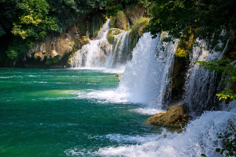Cachoeiras bonitas do rio entre plantas verdes, árvores e florestas no parque nacional de Krka, Dalmácia, Croácia, Europa imagens de stock