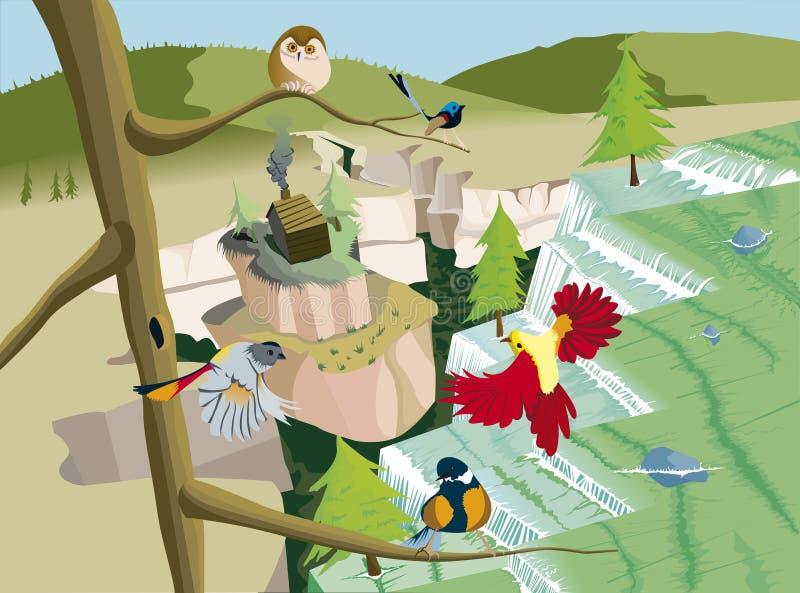 Cachoeiras com casa e pássaros na árvore ilustração royalty free