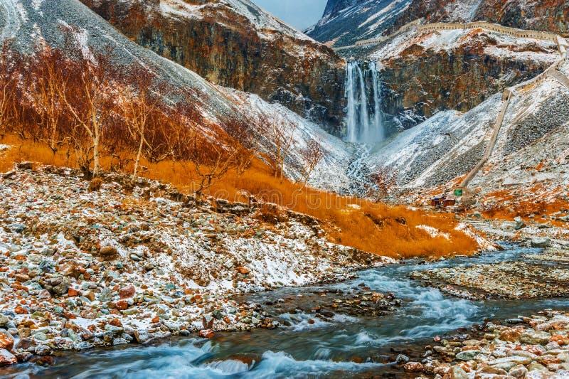 Cachoeiras da montanha de Changbai em China fotos de stock royalty free