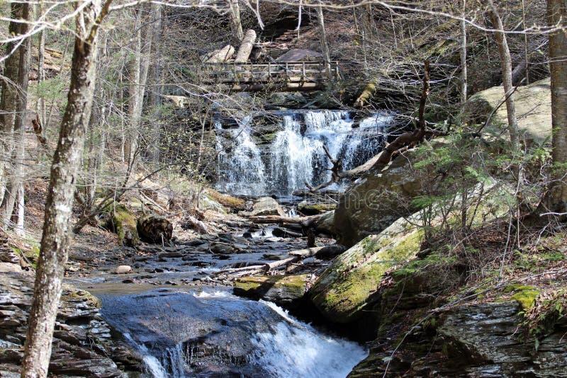 Cachoeiras e ponte fotos de stock