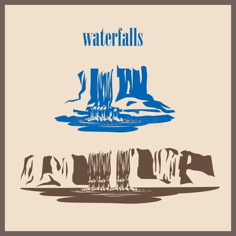 Cachoeiras estilizados ilustração royalty free