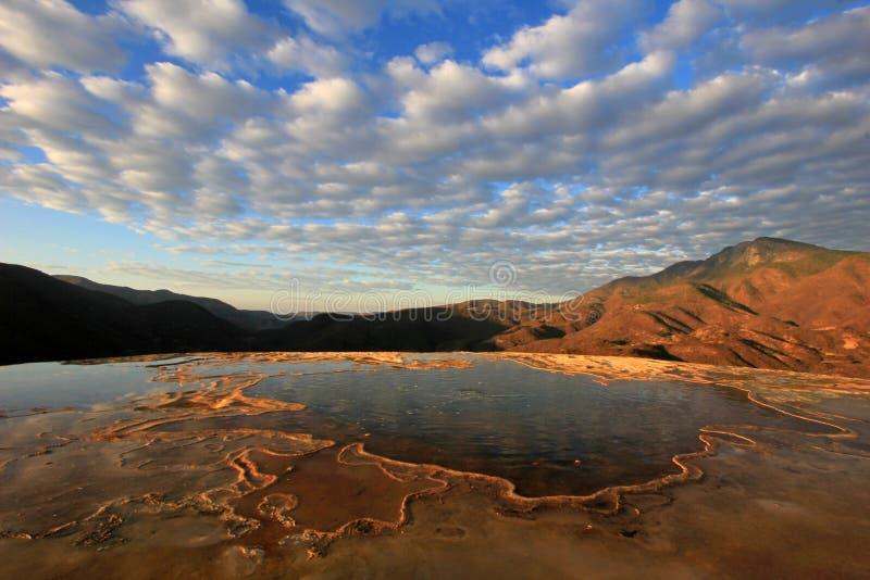 Cachoeiras hirtos de medo, água do EL de Hierve, México imagens de stock royalty free