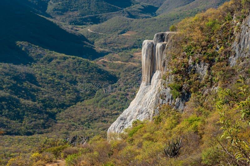 Cachoeiras hirtos de medo, água do EL de Hierve, Oaxaca, México fotos de stock royalty free
