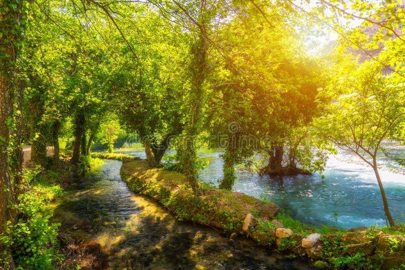 Cachoeiras Krka, parque nacional, Dalm?cia, Cro?cia Vista do parque nacional de Krka, lugar da batida de Roski, Cro?cia, Europa B imagens de stock royalty free