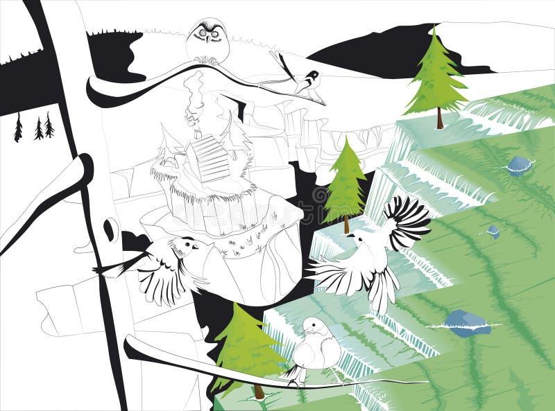 Cachoeiras no vetor e no esboço ilustração royalty free