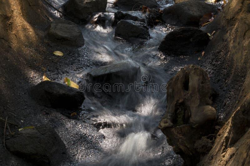 Cachoeiras pequenas com folhas da árvore outono fotografia de stock