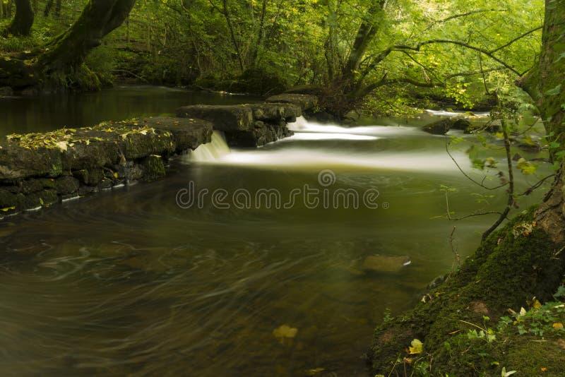 Cachoeiras pequenas, a reserva natural Llangefni do Dingle. Expo longa fotos de stock