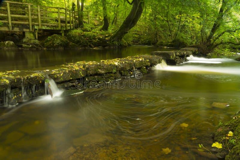 Cachoeiras pequenas, a reserva natural Llangefni do Dingle. Expo longa foto de stock