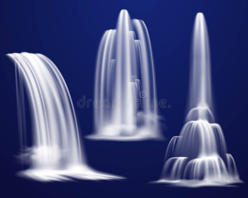 Cachoeiras realísticas ajustadas ilustração do vetor
