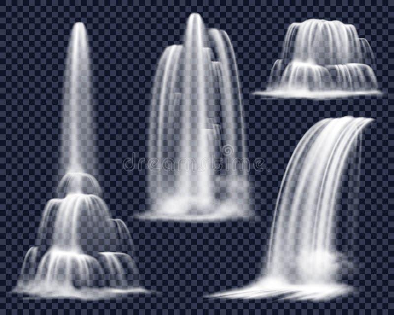 Cachoeiras realísticas no grupo transparente do fundo ilustração stock