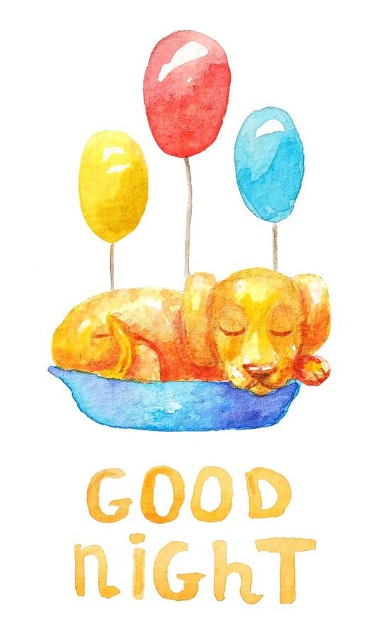 Cachorrinho amarelo do ute do ¡ de Ð que dorme em uma cesta azul com os três balões coloridos diferentes ilustração do vetor