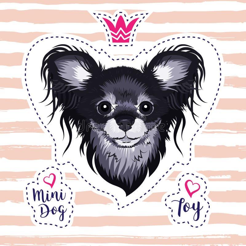 Cachorrinho bonito, cão glamoroso, raça pequena de Toy Terrier do russo do cão Disposição para a cópia no t-shirt com mini cão ilustração do vetor