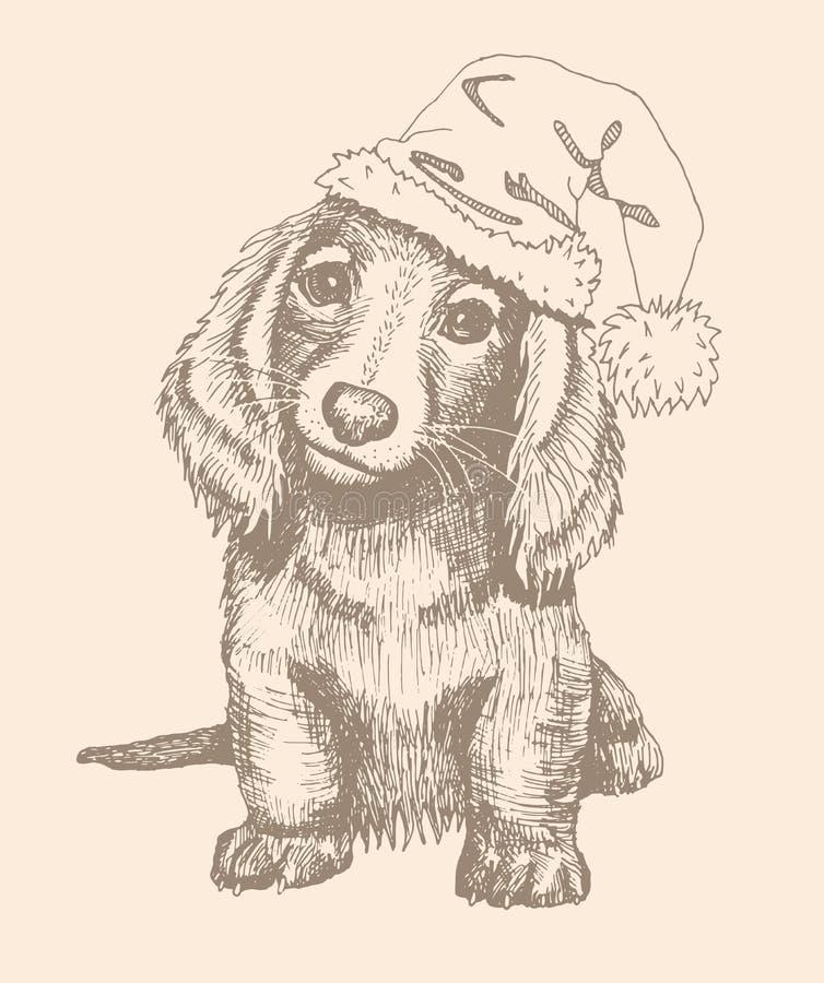 Cachorrinho bonito em um tampão vermelho, um símbolo do ano novo 2018 imagem de stock