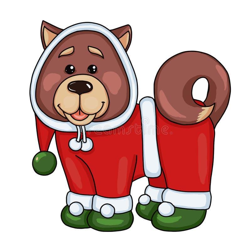 Cachorrinho bonito no traje de Santa Claus para o convite do feriado, a festa de Natal ou o cartão do ano novo, cartaz, bandeira, ilustração royalty free