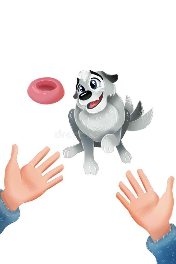 Cachorrinho cinzento bonito que senta e que sacode sua cauda As mãos abrem o gesto adoption ilustração stock