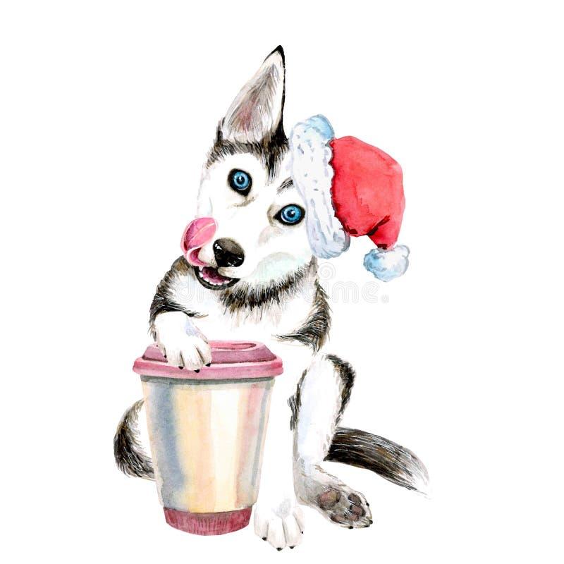 Cachorrinho do cão de puxar trenós do cão no chapéu do ano novo com uma caneca de café Isolado no branco ilustração do vetor