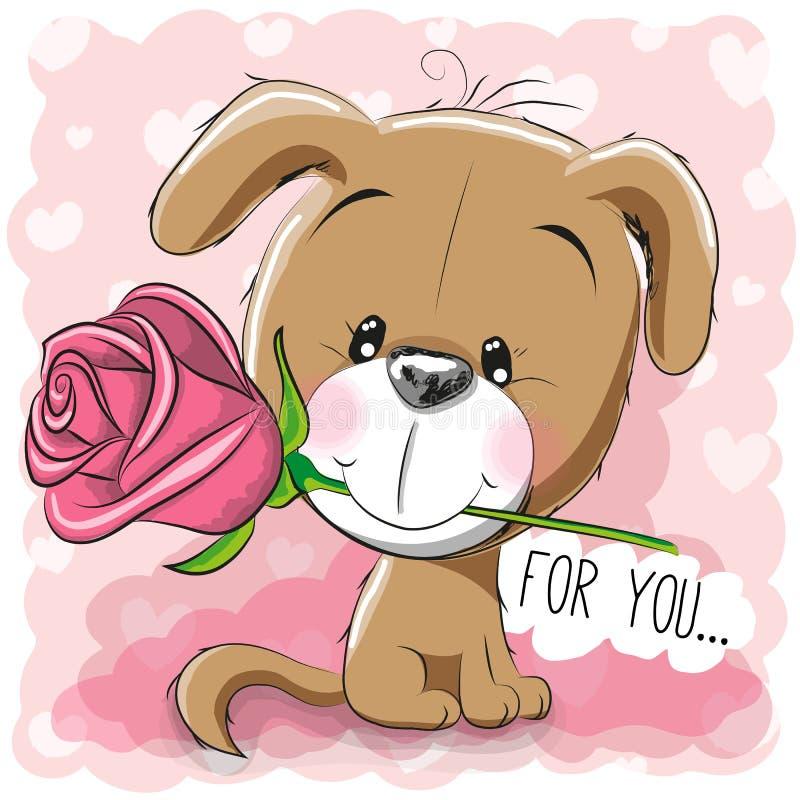 Cachorrinho dos desenhos animados com flor em um fundo cor-de-rosa ilustração stock