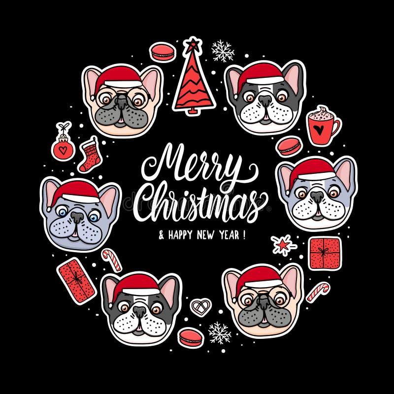 Cachorrinho francês e americano do cartão do buldogue em chapéus de Santa do Feliz Natal Rotulação do quadro Mão do cão da ilustr ilustração do vetor