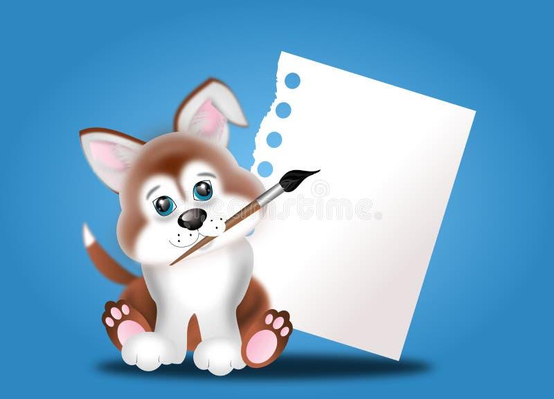 Cachorrinho pequeno com papel da folha vazia ilustração do vetor