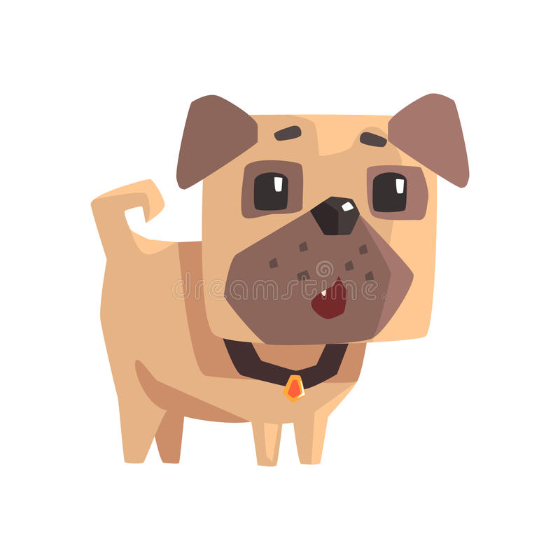 Cachorrinho pequeno surpreendido do cão do Pug do animal de estimação com ilustração dos desenhos animados de Emoji do colar ilustração do vetor