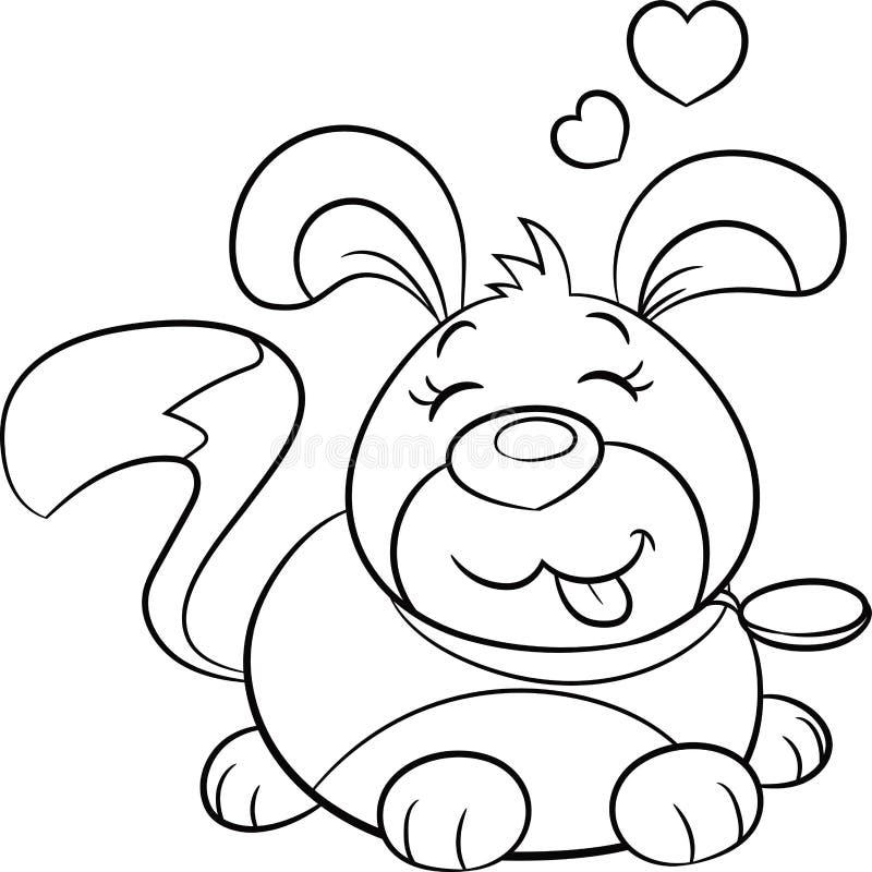 Cachorrinho preto e branco bonito de Kawaii, contorno, com corações em cima, no contorno, para o livro para colorir, ou o cartão  ilustração stock
